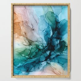 Salty Shores Abstract Painting Serving Tray