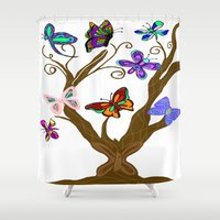 murakami Shower Curtains featuring The Butterfly Tree by Marcy Murakami