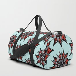 Spiked Abstract Flower In Red And Black Duffle Bag