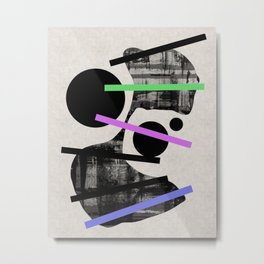 PENSIVE - Eclectic blend of geometric shapes, pastel colours, and black and white textures Metal Print