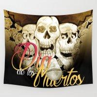dia de los muertos Wall Tapestries featuring Dia de los muertos by mrgarnica