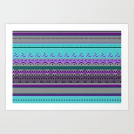 Signs Pattern Turquoise violet Art Print