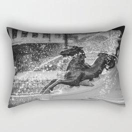 Horse Fountain Sculpture Rectangular Pillow