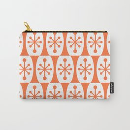Mid Century Modern Atomic Fusion Pattern Orange Carry-All Pouch