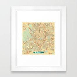 Madrid Map Retro Framed Art Print