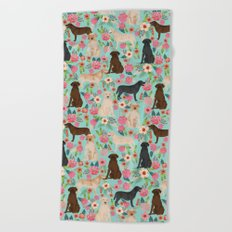 Labrador Retriever dog breed floral pattern for dog lover chocolate lab golden retriever labradors Beach Towel