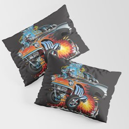 Classic hotrod 57 gasser drag racing muscle car cartoon Pillow Sham