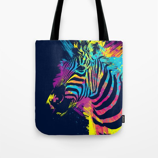 Zebra Splatters Colorful Animals Tote Bag