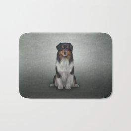 Australian Shepherd dog. Drawing Bath Mat