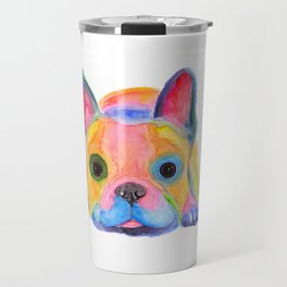 Nosey Dog French Bulldog ' AM I FRENCH ? ' by Shirley MacArthur Travel Mug