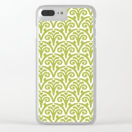 Floral Scallop Pattern Chartreuse Clear iPhone Case