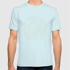 Dotted Gold & Pink Mens Fitted Tee Light Blue SMALL