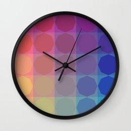 2020 Summer Vibes color harmonies octagonal pattern Wall Clock