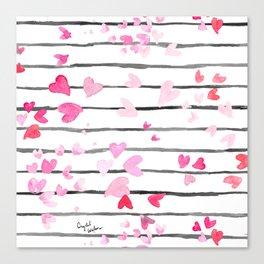 Sweet Heart Sprinkle Stripe Canvas Print