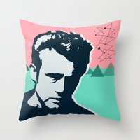 james franco Throw Pillows featuring  james  by mark ashkenazi