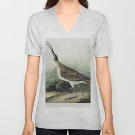 Hudsonian Curlew from Birds of America (1827) by John James Audubon etched by William Home Lizars Unisex V-Neck