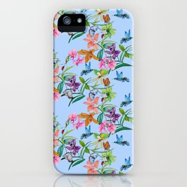 orchids, butterfly and hummingbirds on light blue background iPhone Case