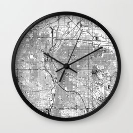 Denver White Map Wall Clock