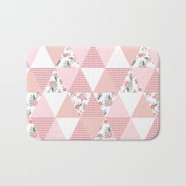 Quilt quilter cheater quilt pattern florals pink and white minimal modern nursery art Bath Mat