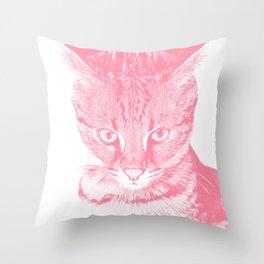 savannah cat portrait vapw Throw Pillow