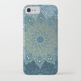 GOLDEN MANDALA ON BLUE iPhone Case