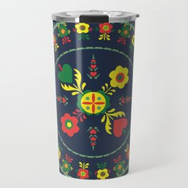 Folk Flowers with Green  Border Travel Mug