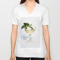 martini V-neck T-shirts featuring  Peppermint Martini by Guna Andersone & Mario Raats - G&M Studi