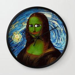 Pepe Mona Lisa/Starry Night Wall Clock