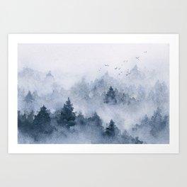 Blue misty forest Art Print