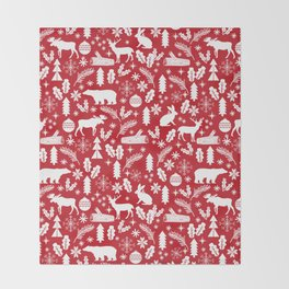 Festive Christmas woodland reindeer moose bear camping red and white minimal pattern for holidays Throw Blanket