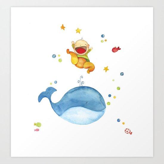 Baby whale Art Print