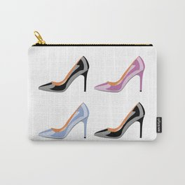 High heel shoes in black, serenity blue and bodacious pink Carry-All Pouch