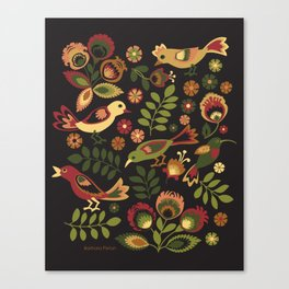 Folk Birds Canvas Print