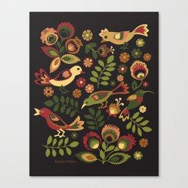 Folk Birds Canvas Print