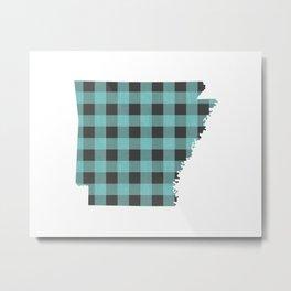 Arkansas Plaid in Mint Metal Print