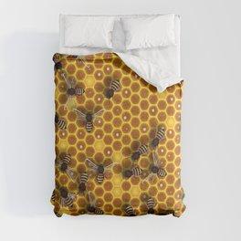 Honeycomb bee background illustration seamless pattern Comforters