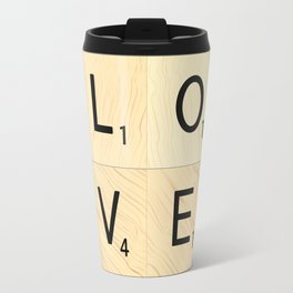 LOVE - Scrabble Letter Tiles Art Travel Mug
