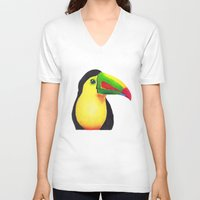 toucan V-neck T-shirts featuring Toucan by Jen Eva