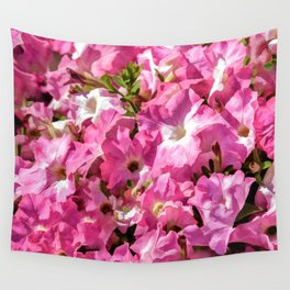 Vintage Pretty Pink Petunias Wall Tapestry