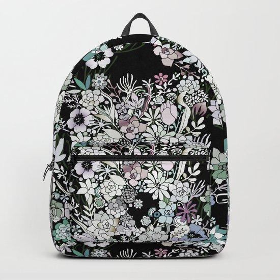 Colorful black detailed floral pattern Backpack