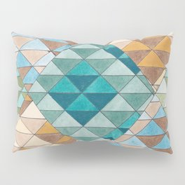 Triangle Patter No.15 Shifting Teal and Yellow Pillow Sham