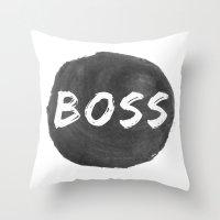 boss Throw Pillows featuring Boss by autumnstar09