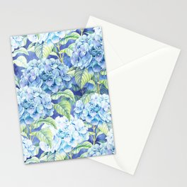 Botanical pink blue watercolor hortensia floral Stationery Cards