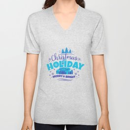 Christmas Holiday Merry & Bright pb Unisex V-Neck