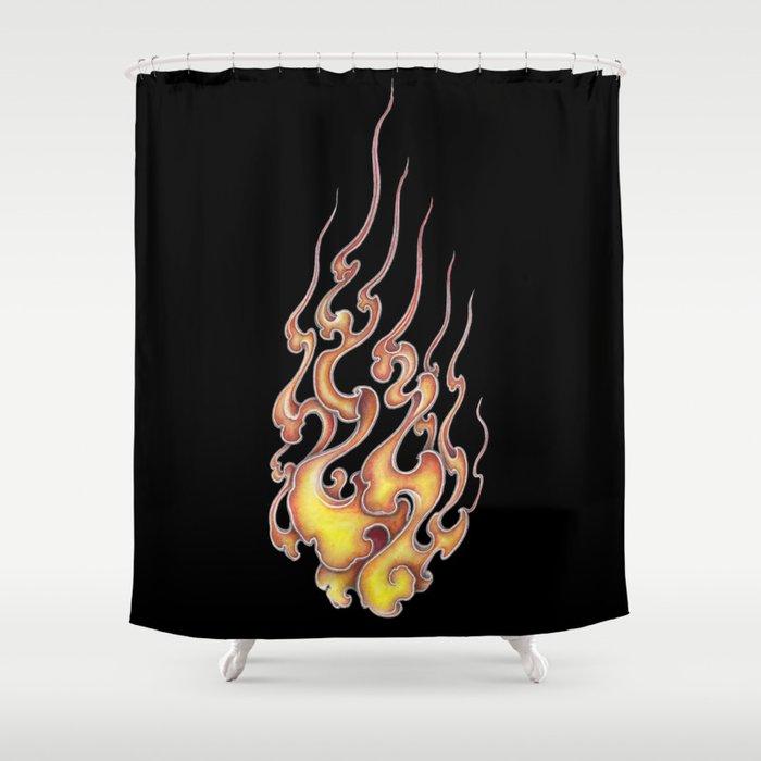 Fire Pattern Of Japan Shower Curtain By Yakudokan