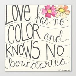 Love has no color... Canvas Print