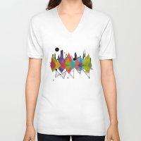 geometric V-neck T-shirts featuring geometric  by mark ashkenazi