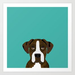 Boxer brindle coat dog breed pet portrait dog head peeking cute dog gifts for boxers Art Print