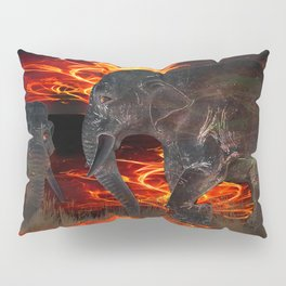 Elephant and a baby elephant in the ring of a burning savanna Pillow Sham