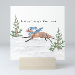 Dashing Through the Snow Winter Fox Mini Art Print